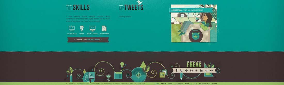 Carol Rivello website footer designs