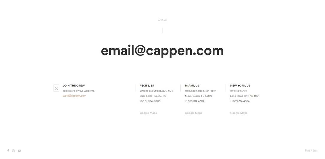 Cappen Digital Agency footer design