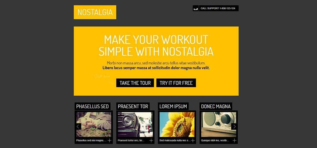 Nostalgia Single Page Website Designs