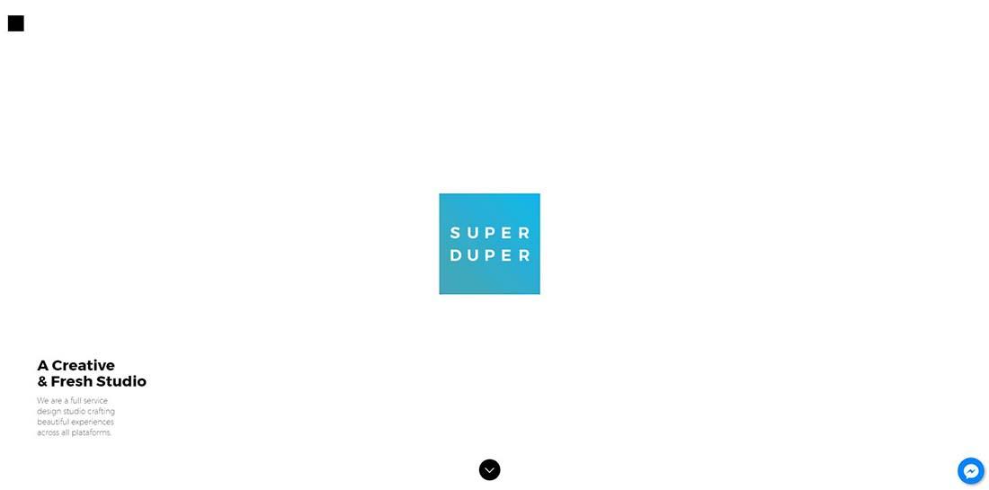 Super Duper Studio Single Page Website