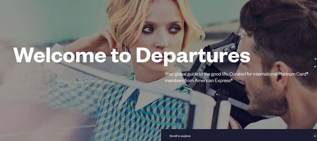 Departures Magazine Single Page Website