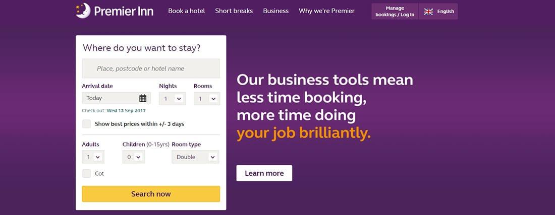 Premier Inn Hotels Hotel Web Designs