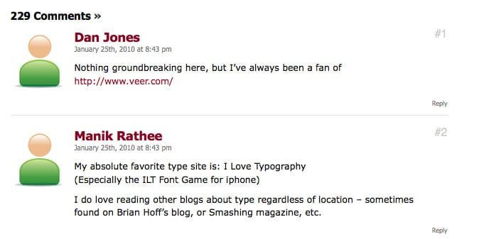 WebDesignerDepot Comment Designs