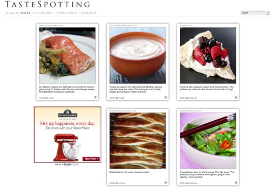 Tastespotting Food Website Design