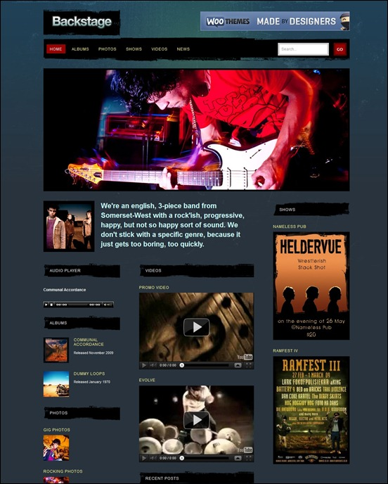 Backstage Grunge WordPress Themes