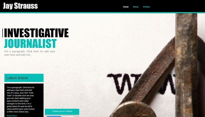 journalism template Marketing Website Templates
