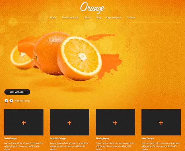 Orange Free PSD Website Template