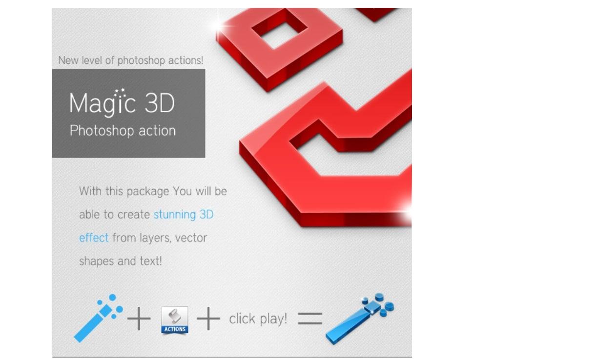 Magic 3D Photoshop Action - Vandelay Design