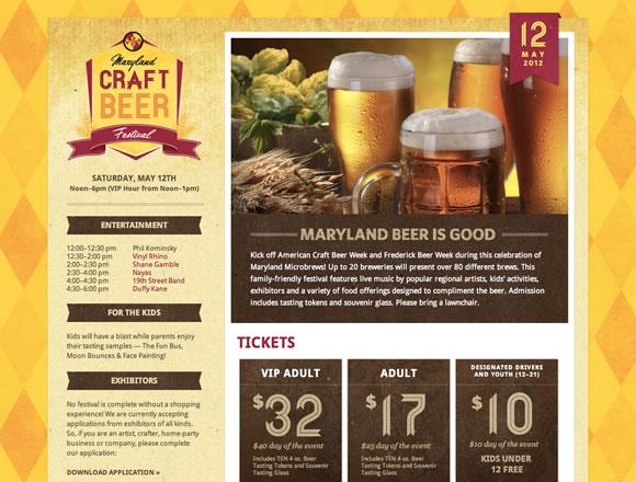 Maryland Craft Beer Festival texture website design