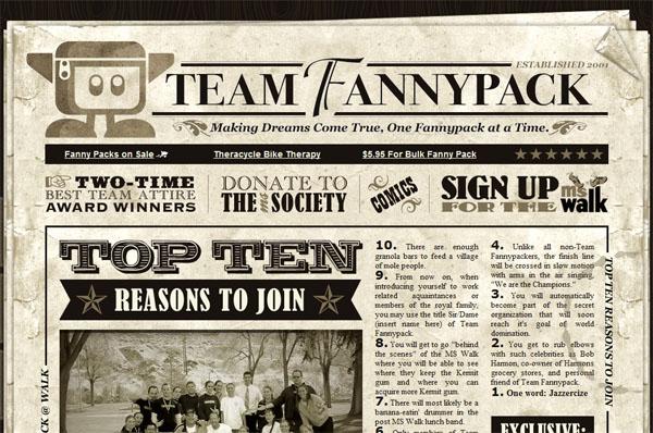 Team Fannypack texture website design