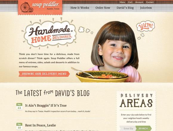 The Soup Peddler texture website design