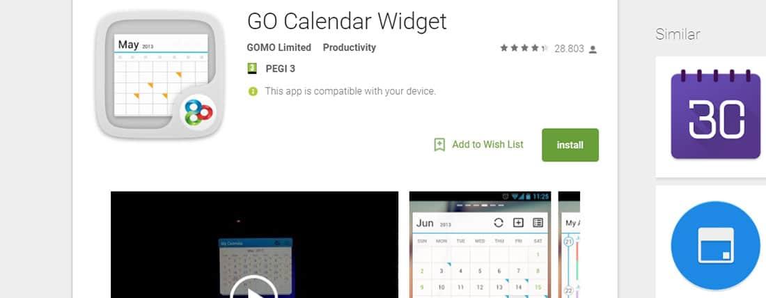 GO Calendar Widget Productivity Android Apps