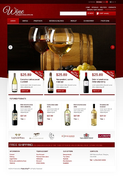 Wine Store PrestaShop Template