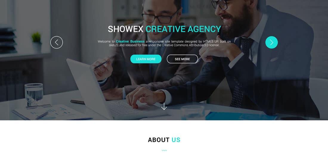 SHOWEX Corporate Landing Page