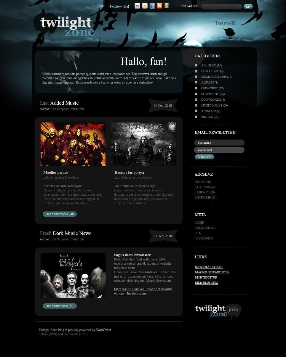 Band Blogger Templates 20 Dark Music WordPress Templates