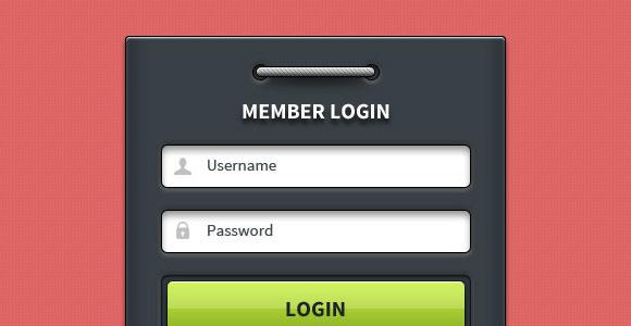 Glossy login form free PSD