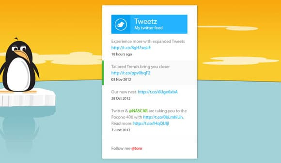 Metro Twitter feed widget CSS + PSD