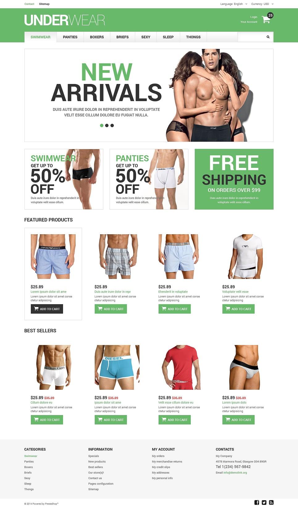 Men's Underwear Responsive PrestaShop Theme