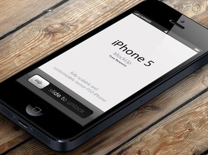 Angled iPhone 5 Free PSD