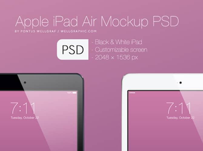 Apple iPad Air Mockup Free PSD