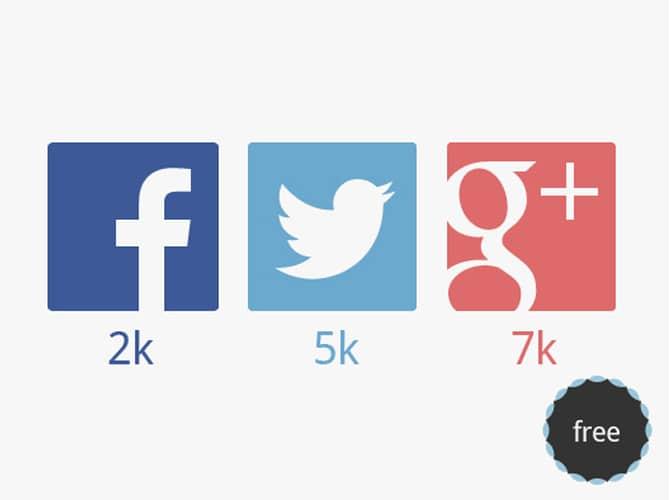 Big Social Media Icons Free PSD