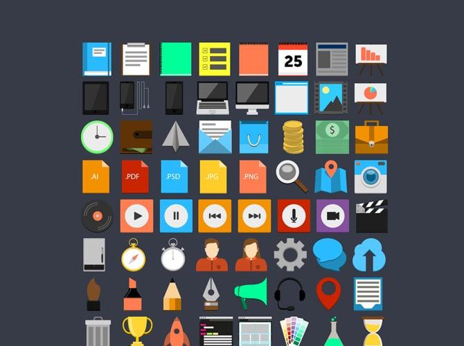 Flat Design Icon Set Free PSD