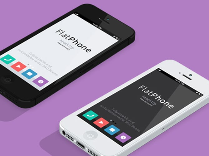 Flat Design iPhone5 Free PSD