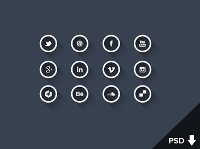 Round Outline Social Media Icons Free PSD