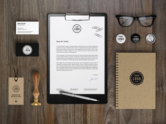Rustic Brand Identity Mockup Free PSD