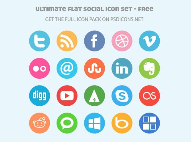 Ultimate Flat Social Icon Set Free PSD
