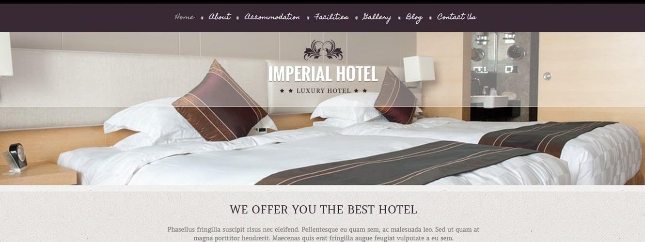 Imperial Hotel WordPress Theme