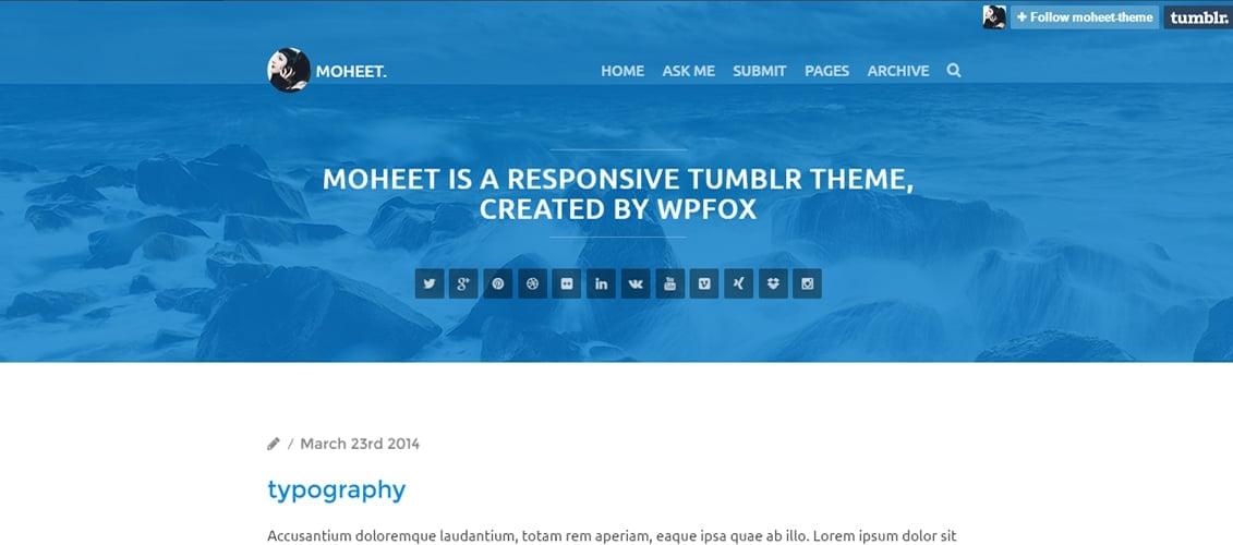 Moheet - Responsive Blog Thumblr Theme