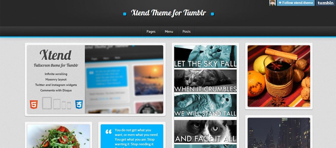 Xtend, Fullscreen and Modern Theme for Tumblr