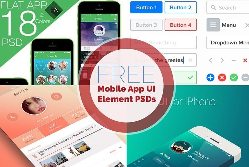 18 Mobile App UI Kits Free PSD