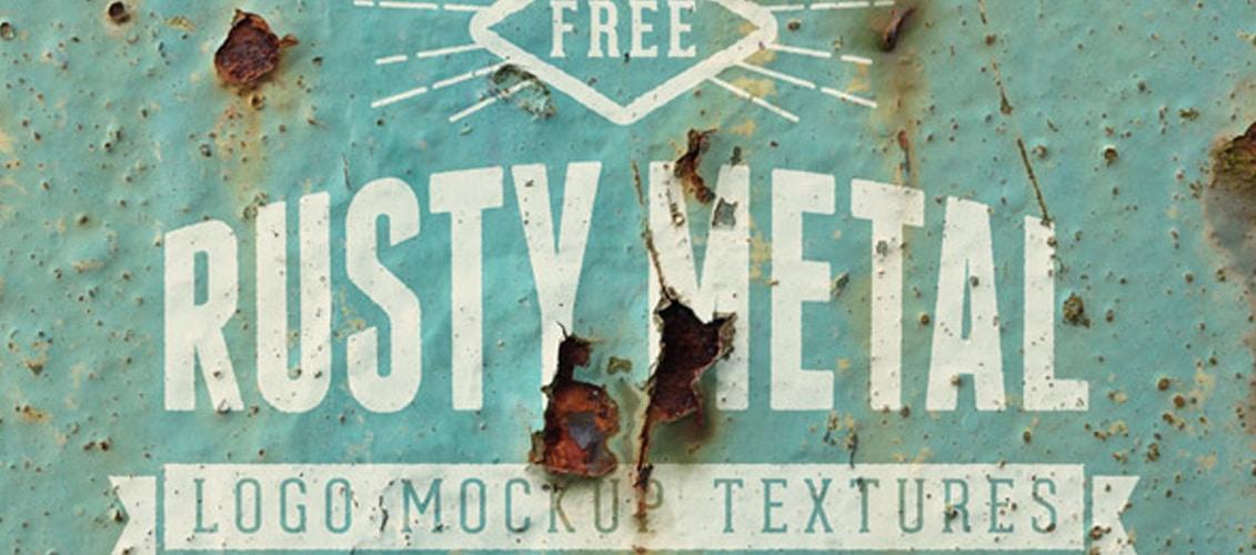 20 Free Realistic Rusty Metal Logo Mockup Textures