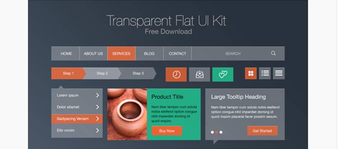 Free Flat Transparent UI Kit