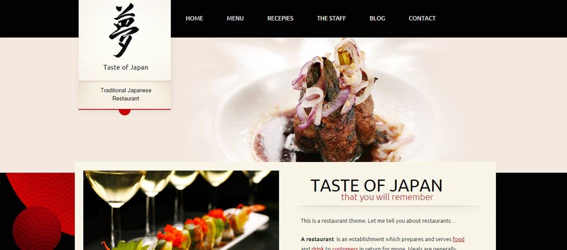 Taste of Japan - Restaurant Food WordPress Theme