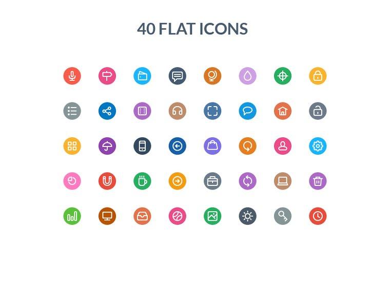 40 FLAT ICONS