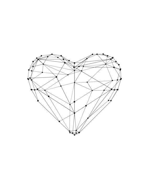 Inspirational Print Love Heart Geometric Inspirational Art Home Decor Poster