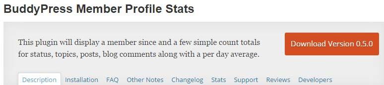 BuddyPress Member Profile Stats