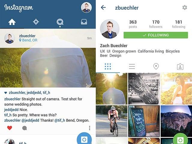 Instagram UI material design PSD