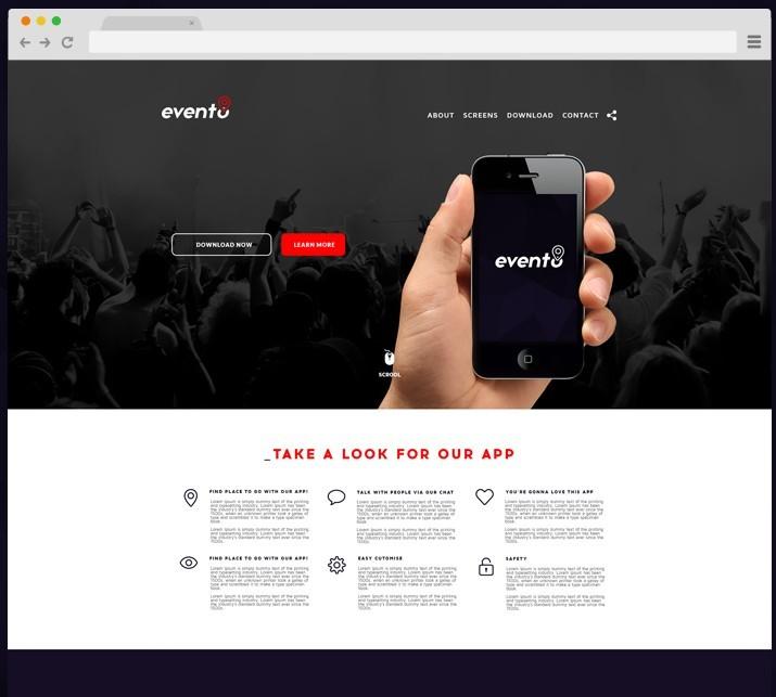Evento Landing Page Template PSD