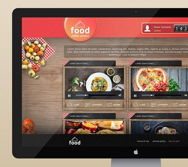 Food Online Service Website Template PSD