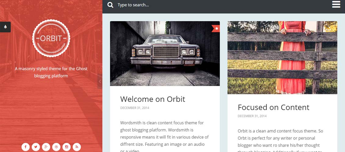 Orbit - Masonry Style Responsive Ghost Theme