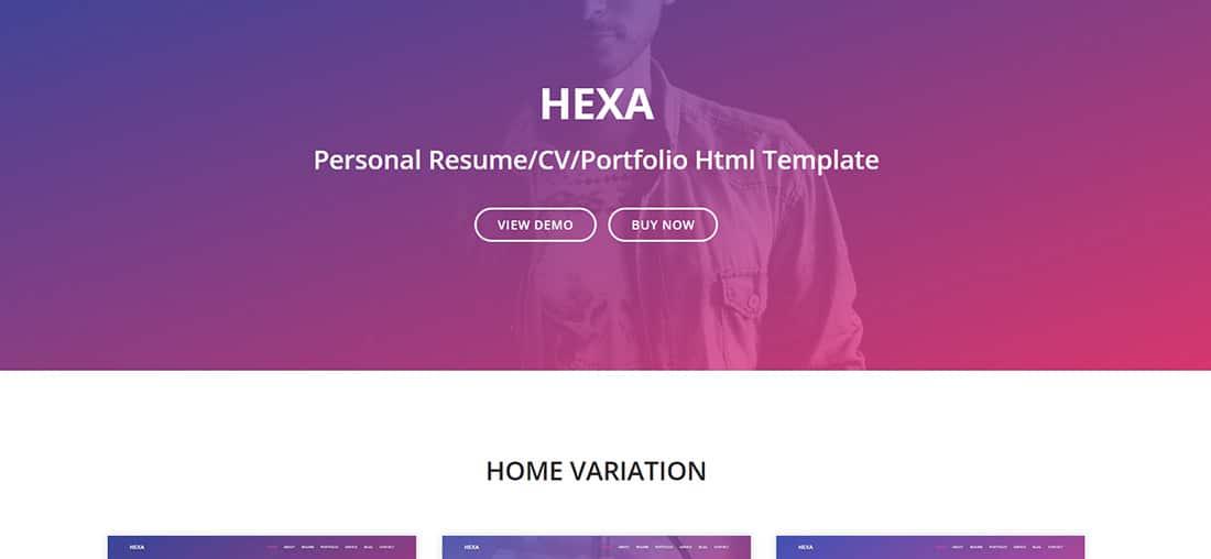 Hexa - Personal Resume_CV_Portfolio HTML Template