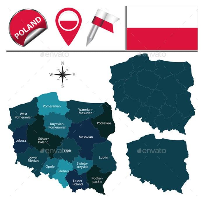Map-of-Poland Conceptual Vector Packs