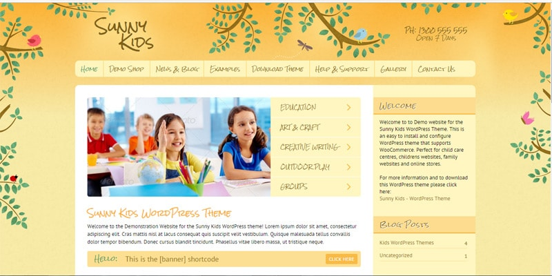 Sunny Kids Responsive WooCommerce Theme