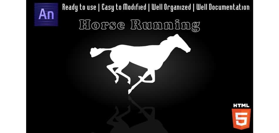 Horse-Running-Animation Edge Animate Templates