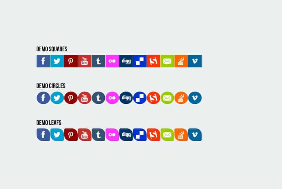 Pure-CSS3-Responsive-Social-Media-Flat-Icons