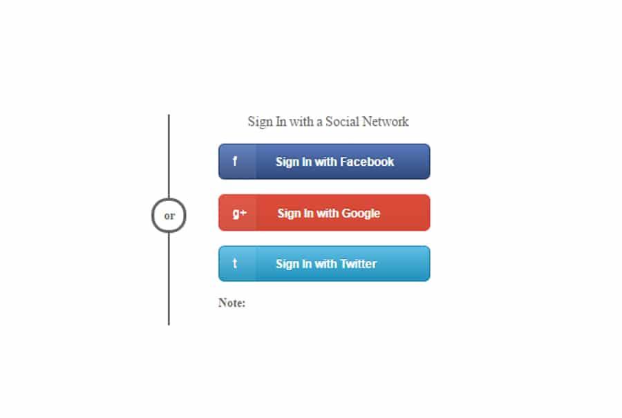 Sign Button Social Network